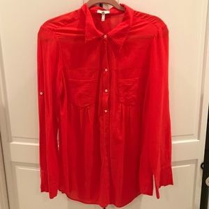 Long Sleeve Red Button Down Blouse